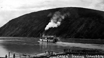"The S.S. Casca leaving Dawson. Claude wrote, ""This is the boat that Mary traveled on from Whitehorse to Dawson – that lucky day when I met her. Aug. 15, 1924""."