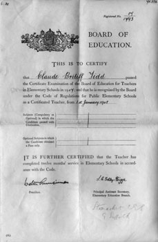 Claude's teacher's certificate.