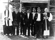 Indian Church board, with Bishop Geddes on the far right, and Reverand Valentine on the far left. ca. 1938